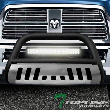 Topline Autopart Matte Black Bull Bar Brush Push Bumper Grill Grille Guard With Aluminum Skid Plate + 120W Cree LED Fog Light For 09-18 Dodge Ram 1500
