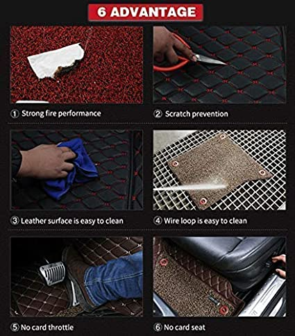 All Weather Floor Mat for 2019 Tesla Model 3 3D Full Protection Car Accessories Black /& Red 3 Piece Set