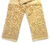 Lucknow Chikan-kari stretchable cotton leggings,narrow pants/Comfortable ankle length narrow pants leggings Beige/Hand embroidered leggings/One size fits most (Beige)