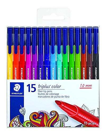 STAEDTLER fiber-tip pens, triplus color, 1mm pressure-resistant tip, washable ink, triangular barrel,  set of 15 vibrant colors, assorted, 323 TB15LU (Colour Staedtler Triplus)