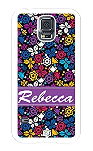 iZERCASE Samsung Galaxy S5 Case Personalized Colorful Flowers and Butterflies Pattern RUBBER CASE - Fits Samsung Galaxy S5 T-Mobile, Sprint, Verizon and International (White)