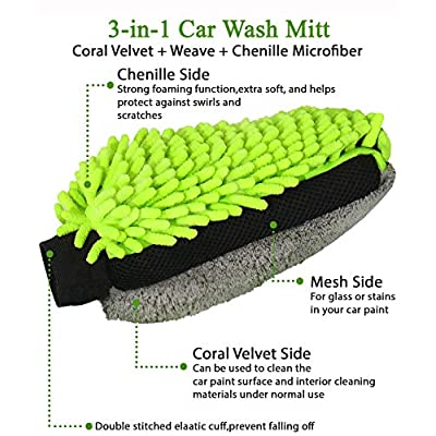 GreatCool 3 in 1 Car Wash Mitt, Coral Velvet + Weave + Chenille Microfiber, Lint Free Scratch Free Not Hurt Paint Glove Sponge Soap Towel Clean Tools Kits for Car Auto Household Home Kitchen Cleaning: Automotive