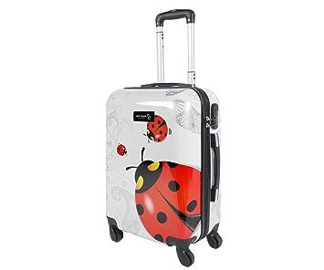 Equipaje de mano 50 cm JUSTGLAM Maleta cabina 4 ruedas trolley cascara dura adecuadas para vuelos de bajo cost art coccinella: Amazon.es: Equipaje