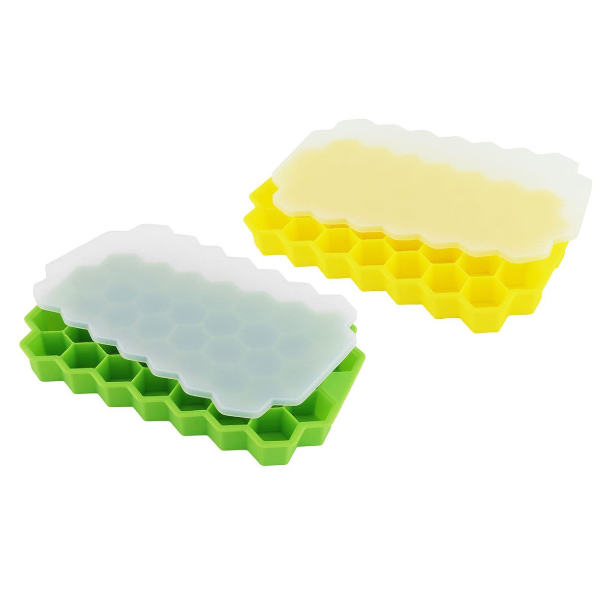 Ice Cube Trays -2 Pack Soft Silicone Ice Tray Mold 74 Small Cubes with Non-Spill Lid Stackable for Whiskey Squares, Candy Pudding, Juice Chocolate Mold or Cocktails Particles for Summer, Party and H HOT JUNE