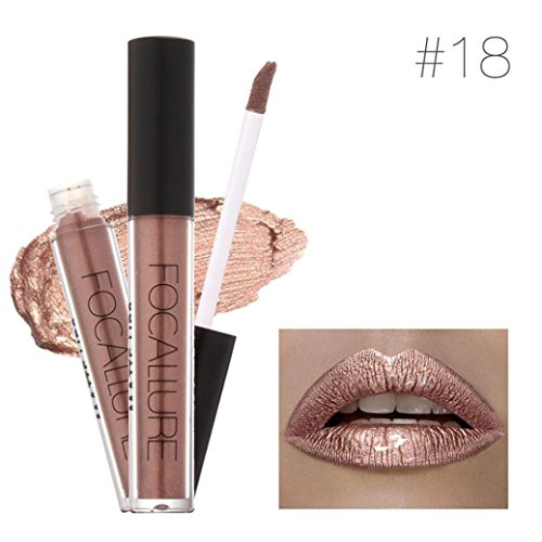 Price comparison product image DZT1968 1PC 7color Women Sexy FOCALLURE Lipstick Cosmetics moisturizing lasting Lips Metallic Lip Gloss (C)