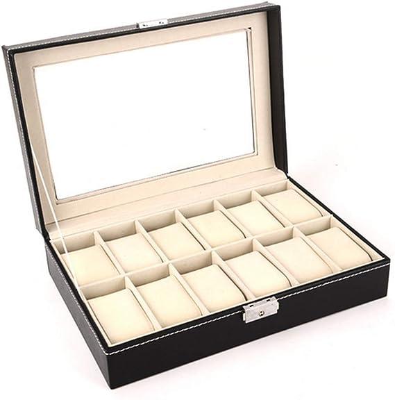 Caja de reloj-12 para hombre, organizador de relojes, joyas ...