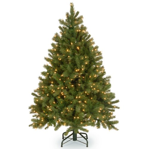 National Tree 4.5 Foot 'Feel-Real' Downswept Douglas Fir Tree with 450 Clear Lights, Hinged (PEDD1-312-45)