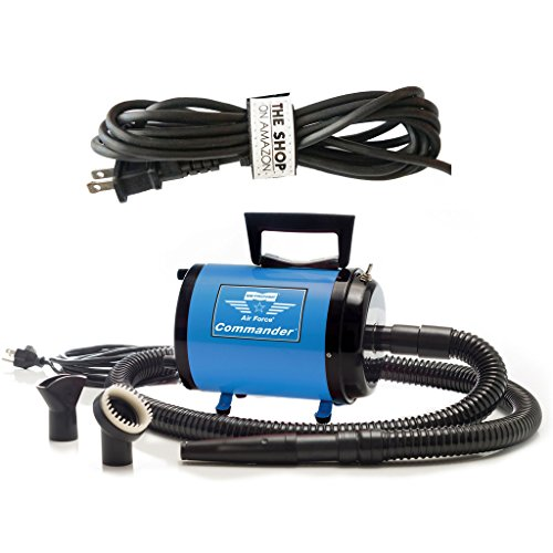 Metrovac's Air Force Commander Professional Pet Grooming Dryer – Portable, Variable Speed 4.0HP Motor – Ideal for Double-Coated Dogs – 5 Unique Colors (Blue)