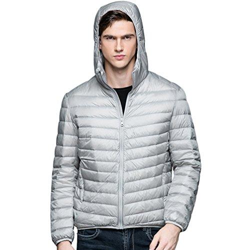 Warm Hood Puffer ZKOO Lightweight Jacket Padded Down Coat Down Men Gray Outwear Jacket Zipper and Autumn Winter wBXXS7Ix