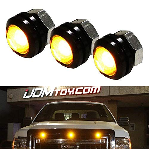 iJDMTOY SVT Raptor Style Amber LED Grille Lighting Kit Universal Fit For Truck or SUV, 3-Piece High Power Amber Yellow Grill Marker Light Set