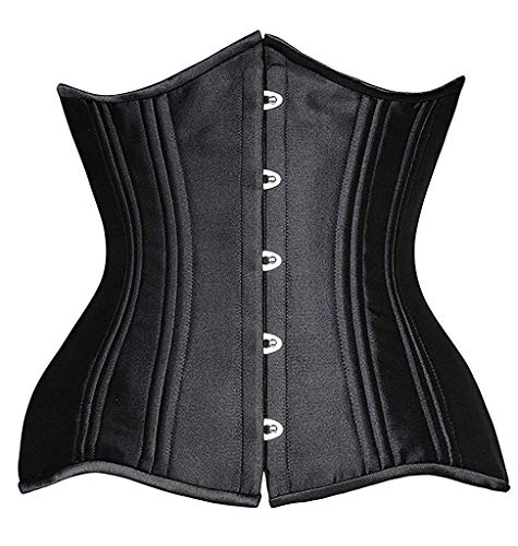 SHAPERX Camellias Women 26 Steel Boned Mesh Corsets Longline Heavy Duty Waist Trainer Long Torso Cincher,SZ1794-Black-M