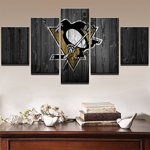 [Medium] Premium Quality Canvas Printed Wall Art Poster 5 Pieces / 5 Pannel Wall Decor Ice Hockey Sports Penguins Painting, Home Decor Pictures - With Wooden Frame - Hockey Frame