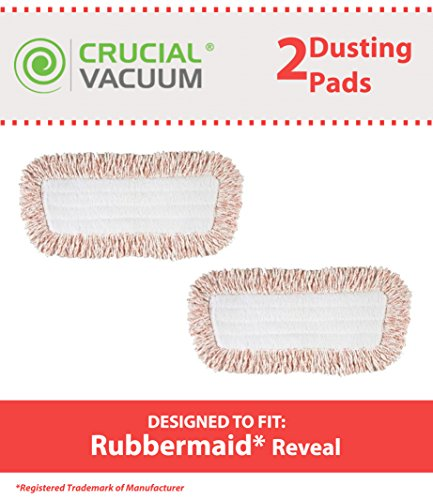 2 Replacements for Rubbermaid Dry Mop Pads Fit Spray & Reveal Floor Mops, Compatible With Part # 1M20, Washable & Reusable, by Think Crucial