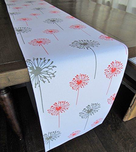 Coral Gray Dandelion Table Runner