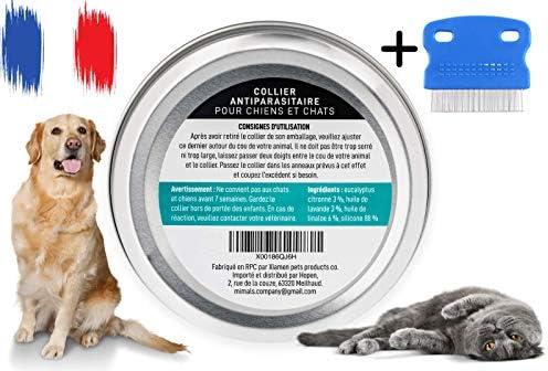 Mimals™ Collier Anti-Puces et Anti-Tiques pour Chiens et Chats – Conçu à Partir d'Huiles Essentielles Bio – Confortable et 100% Waterproof – Peigne Anti-Puces INCLU