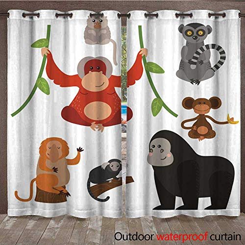 Pin Rare Mint - RenteriaDecor Home Patio Outdoor Curtain Different Types of Monkeys Rare Animal Vector Set W72 x L84