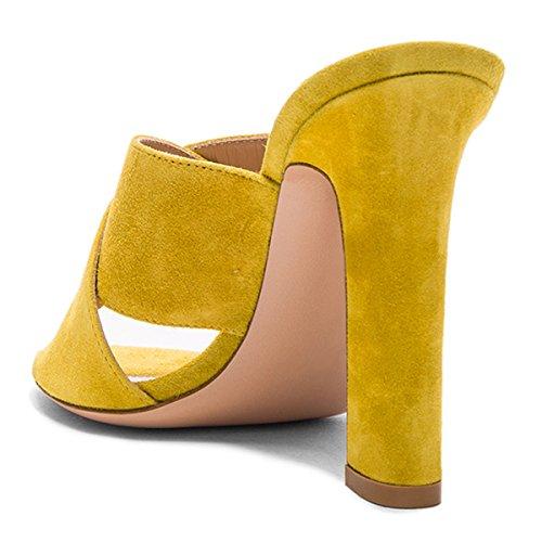 Fsj Donna Casual Falso In Camoscio Muli Open Toe Sandali Piattaforma Tacco Grosso Comfort Scarpe Taglia 4-15 Us Giallo-12 Cm