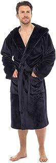 Wolf & Harte Mens Hooded Flannel Fleece Dressing Gown