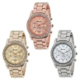 Han Shi Crystals Watch, Fashion Ladies Women Girls Faux chronograph Quartz Classic Round Clock