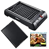 GoWISE USA GW88000 2-in-1 Smokeless Indoor Grill and Griddle with Interchangeable Plates and Removable Drip Pan + 20 Recipes (Black), Large,