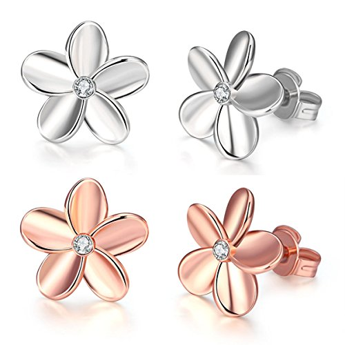 (Plumeria Earrings Studs White Gold and Rose Gold Plated Zircon Hawaiian Flower for Women Jewelry)
