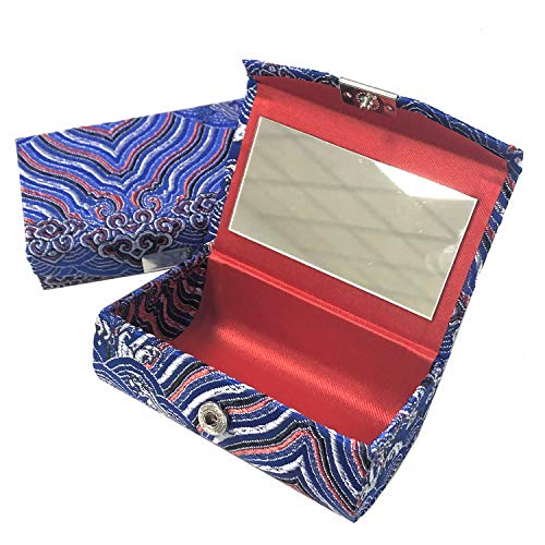 Monrocco 2 Pack Chinese Vintage Luxurious Embroidered Double Lipstick Lip Gloss Case with Mirror Silk Stain Fabric Jewelry Holder Box,Blue Red ()