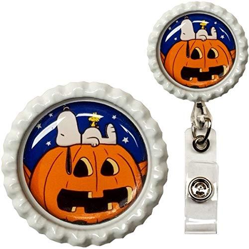 Great Pumpkin Halloween Character Real Charming Retractable Swivel Alligator ID Badge Holder Badge Reel with Crenellated Metal Frame (Snoop CF SA)