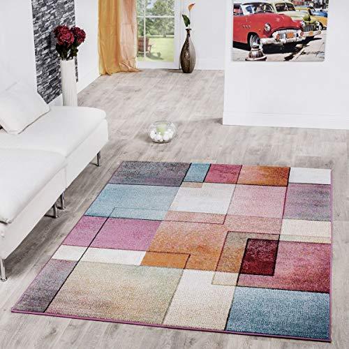 T&T Design Alfombra De Cuadros Multicolor De Pelo Corto Modelo De Diseño Al Mejor Precio, Größe:60×100 cm