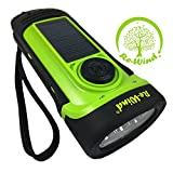 NEW Re-Wind Wind-Up Solar Rechargeable Waterproof LED Torch Flashlight with Non-Slip Rubber Finish and Wrist Strap - Powerful 3 LED Beam, Submersible up to 5M - Ideal for Marine use, Walking, Hiking, Camping, Festivals, Caravans and Car Breakdown - No Bat