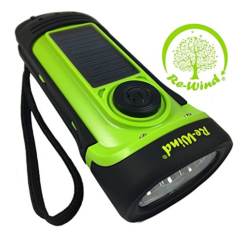 NEW Re-Wind Wind-Up Solar Rechargeable Waterproof LED Torch Flashlight with Non-Slip Rubber Finish and Wrist Strap - Powerful 3 LED Beam, Submersible up to 5M - Ideal for Marine use, Walking, Hiking, Camping, Festivals, Caravans and Car Breakdown - No Batteries Required - 2 Year Warranty Included