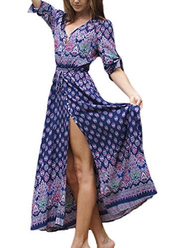 Con Casual Manica Abiti Stampa Vestitini Cerimonia Hippie Abito Vestito Alta 4 Moda scuro Estivi Lungo Da Vita 3 Bohemian Eleganti Vestiti Scollo V Lunghi Donna Spiaggia Spacco Blu aqarUg