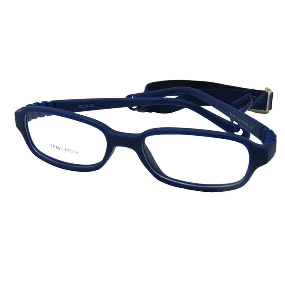 EnzoDate Kids Optical Glasses Frame Size 47-16-120 with Cord, No Screw Bendable (navy) by EnzoDate