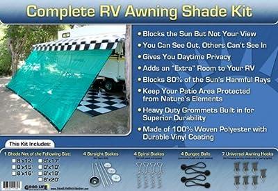 RV Awning Shade RV Patio Shade RV Sun Shade (Green) 8x10 Complete Kit