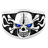 Flaming Danger Skull Sterling Silver Simulated Sapphire Blue Cubic Zirconia Eyes