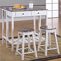 Kings Brand 3 Pc. White Finish Wood Drop Down Table & 2 Stools