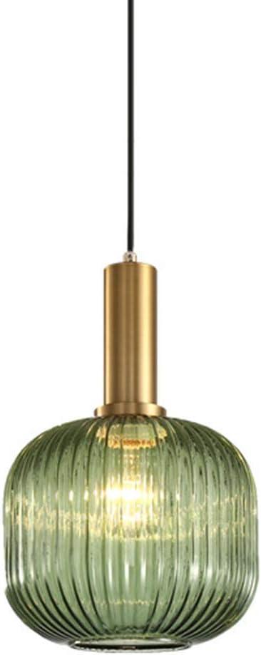 RUIXINBC Pantalla De Lámpara Colgante De Cristal Verde Moderno Cortina De Lámpara De Techo Lámpara De Cristal, Lámpara De Hierro De La Lámpara Edison E27 Lámpara Pendiente De La Lámpara