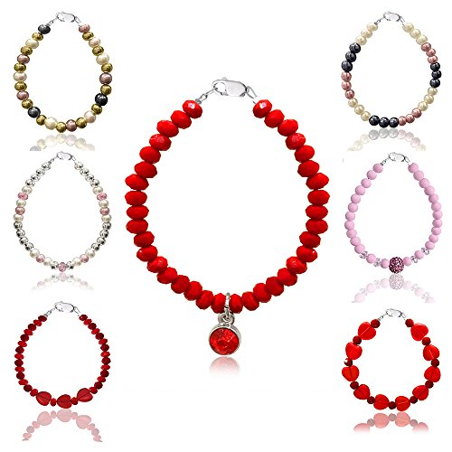 Bracelets Swarovski & Czech Crystals, Simulated Pearls & Other Stones - Sterling Silver Clasp & Extension Chain - by D Charm ()