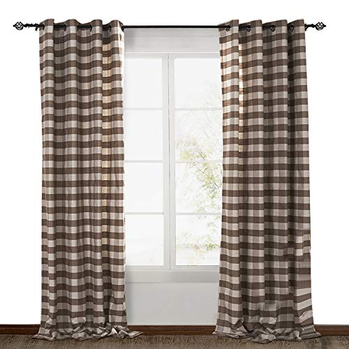 ChadMade Check Plaid Cotton Nickel Grommet Eyelet Blackout Lined Window Curtain Panel Drapes (1 Panel) Light Brown 50Wx96L Inch