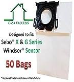 Casa Vacuums replacement bags used for Windsor Sensor - Versamatic Plus - 5300REP Upright Vacuum Paper Bags. Sebo X & G Series. Kenmore 12 & 15 upright series 50 pack
