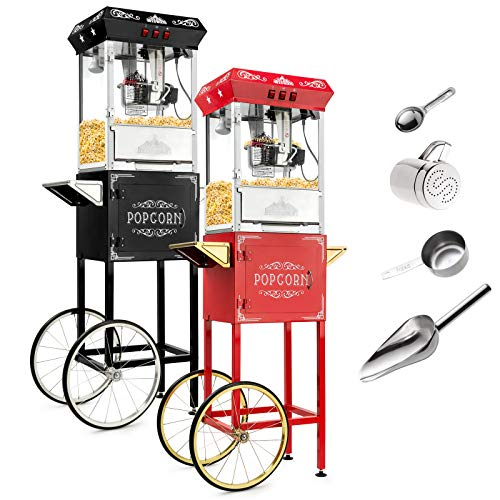 - Olde Midway Vintage Style Popcorn Machine Maker Popper with Cart and 8-Ounce Kettle - Red