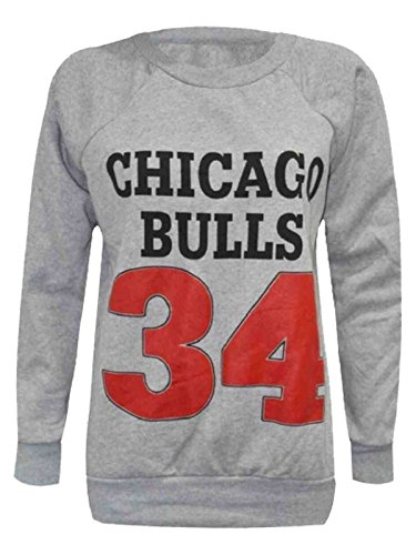 Sleeve Sweat BULLS 8 GRAY 34 Shirt CHICAGO UK Womens Long Printed Ladies 14 Top 7qxwRItTR