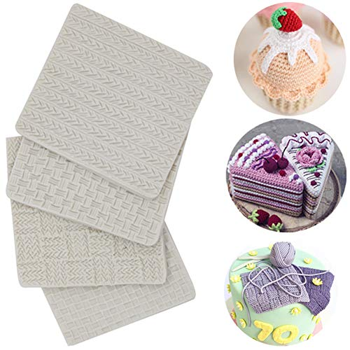 (Set of 4)Fondant Impression Mat, Knitting Sweater & Crochet Texture Embossed Design- Silicone-Cake Decorating Supplies for Cupcake Wedding Cake Decoration ()