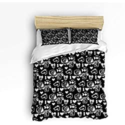 YEHO Art Gallery Soft Duvet Cover Set Bed Sets for Children Kids Girls Boys,Lovely Dog Animal Pattern Black and White Bedding Sets Home Decor,1 Comforter Cover with 2 Pillow Cases,Queen Size