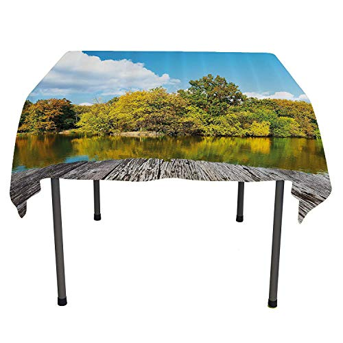 (Landscape, Wipeable Table CoverNew York City Central Park in a Autumn Day Near a Bay with River, Dinning Tabletop Decoration, 36x36 Inch Sky Blue Green and Cocoa)