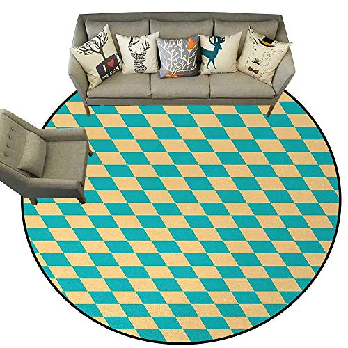 (Geometric,Designed Kitchen Bathroom Floor Mat D40 Art Deco Style Chess Table Dart Like Horizontal Vintage Image Rubber mat Turquoise and Light Yellow)