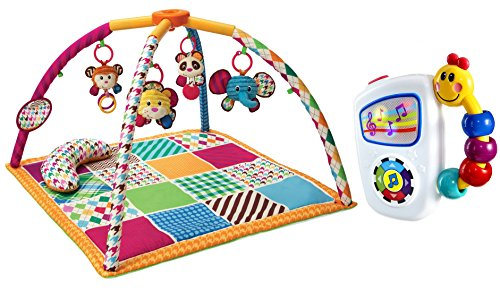 Infantino Safari Fun Twist and Fold Activity Gym and Play Mat with Take Along Tunes Musical Toy -