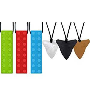 Panny & Mody Silicone Block Sensory Chew Necklaces Bundle with Shark Tooth Sensory Chew Necklaces(6 Items)