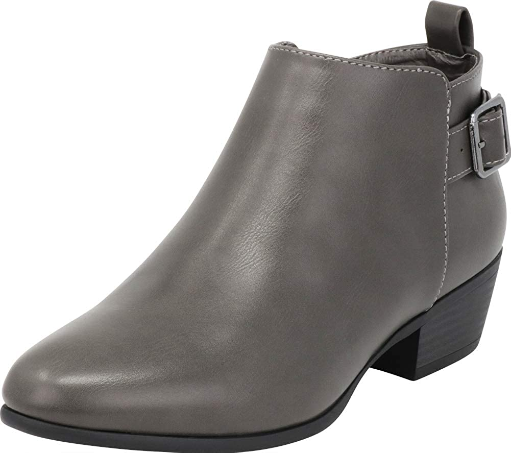 Grey Pu Cambridge Select Women's Classic Buckle Chunky Stacked Low Heel Ankle Bootie