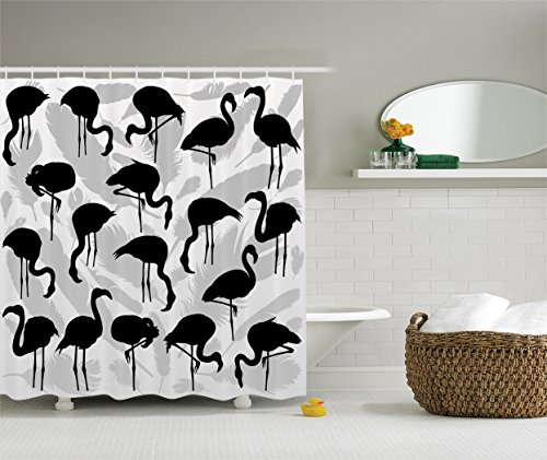 Ambesonne Flamingo Silhouettes Feathers Design, Polyester Fabric Shower Curtain Set with Hooks, Black and Grey (Flamingo Silhouette)