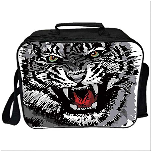 Safari Decor Lunch Box Portable Bag,Illustration of Charismatic Tiger Territorial Predator Power with Unique Patterns for Kids Boys Girls,10.6